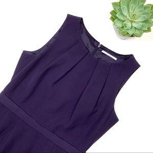 Tahari Sleeveless Deep Plum Midi Dress